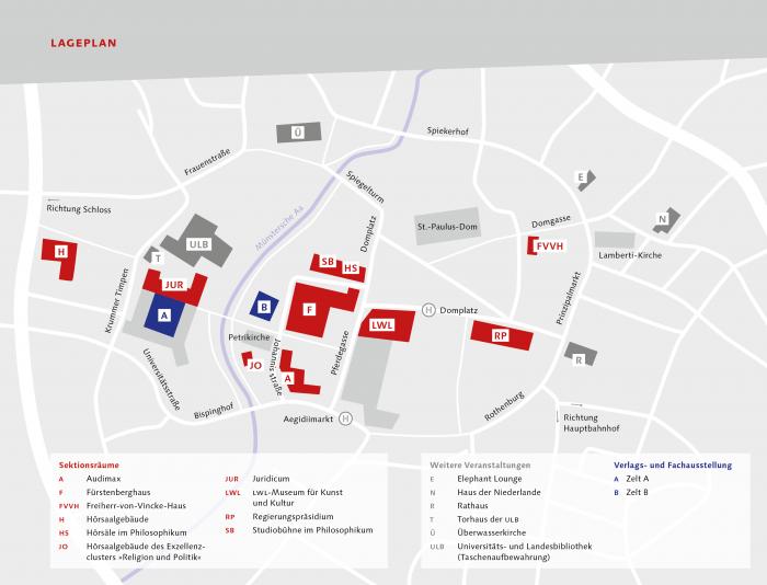 Lageplan Historikertag 2018 in Münster